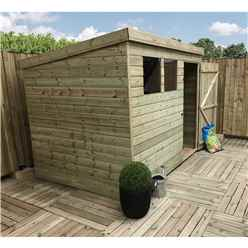7FT x 3FT Pressure Treated Tongue & Groove Pent Shed + 2 Windows + Single Door + Safety Toughened Glass
