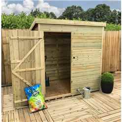 7FT x 3FT Windowless Pressure Treated Tongue And Groove Pent Shed With Single Door