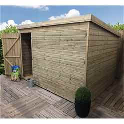 9FT x 4FT Windowless Pressure Treated Tongue & Groove Pent Shed + Single Door