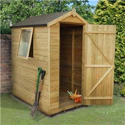 6ft x 4ft (1.9m x 1.3m) Pressure Treated Tongue And Groove Apex Shed With Single Door and 1 Window