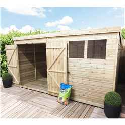 12FT x 8FT Pressure Treated Tongue & Groove Pent Shed + Double Doors With 3 Windows + Safety Toughened Glass
