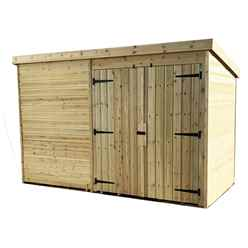 9FT x 8FT Windowless Pressure Treated Tongue & Groove Pent Shed + Double Doors
