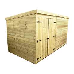 14FT x 8FT Windowless Pressure Treated Tongue & Groove Pent Shed + Double Doors