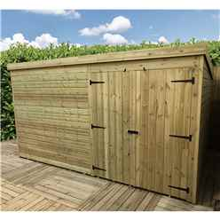 INSTALLED 14FT x 3FT Windowless Pressure Treated Tongue & Groove Pent Shed + Double Doors - INCLUDES INSTALLATION