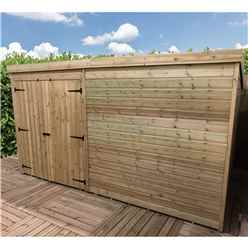 INSTALLED 9FT x 4FT Windowless Pressure Treated Tongue & Groove Pent Shed + Double Doors - INCLUDES INSTALLATION