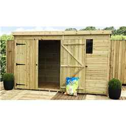 10FT x 5FT Pressure Treated Tongue & Groove Pent Shed + Double Doors + 1 Window