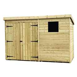 10FT x 6FT Pressure Treated Tongue & Groove Pent Shed + Double Doors + 1 Window + Safety Toughened Glass