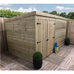 INSTALLED 14FT x 4FT Windowless Pressure Treated Tongue & Groove Pent Shed + Double Doors - INCLUDES INSTALLATION
