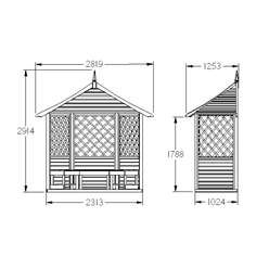 9ft x 8ft Half Rosemary Arbour - Assembled