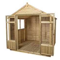 7ft x 7ft Oakley Pressure Treated Overlap Summerhouse - Assembled (219cm x 207cm)