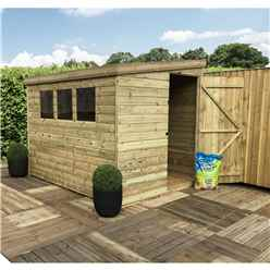 7FT x 4FT Reverse Pressure Treated Tongue & Groove Pent Shed With 3 Windows + Side Door + Safety Toughened Glass