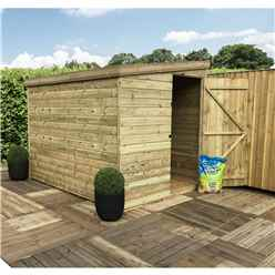 8FT x 5FT Windowless Pressure Treated Tongue & Groove Pent Shed + Side Door