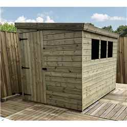 8FT x 8FT Reverse Pressure Treated Tongue & Groove Pent Shed + 3 Windows And Single Door + Safety Toughened Glass (Please Select Left Or Right Panel for Door)