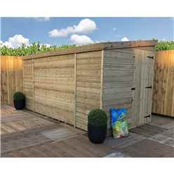 10FT x 6FT Windowless Pressure Treated Tongue & Groove Pent Shed + Side Door
