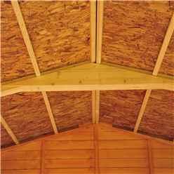 INSTALLED 10ft x 10ft (2.99m x 2.99m) - Dip Treated Overlap - Apex Wooden Garden Shed - 6 Windows - Double Doors - 10mm Solid OSB Floor