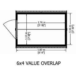 ** FLASH REDUCTION** 6ft x 4ft  (1.83m x 1.20m) - Super Value Overlap - Apex Wooden Garden Shed - Windowless - Single Door - 10mm Solid OSB Floor - CORE