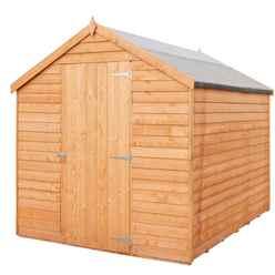 7ft x 5ft  (2.05m x 1.62m) - Super Value Overlap - Apex Wooden Garden Shed - Windowless - Single Door - 10mm Solid OSB Floor