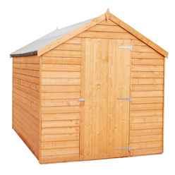 **FLASH REDUCTION** 8ft x 6ft  (2.39m x 1.83m) - Super Value Overlap - Apex Wooden Garden Shed - Windowless - Single Door - 10mm Solid OSB Floor