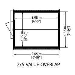 INSTALLED - 7ft x 5ft (2.05m x 1.62m) - Super Value Overlap - Apex Wooden Shed - Windowless - Single Door - 10mm Solid OSB Floor