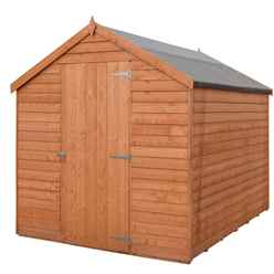 INSTALLED - 8ft x 6ft  (2.39m x 1.83m) - Super Value Overlap - Apex Wooden Shed - Windowless - Single Door - 10mm Solid OSB Floor