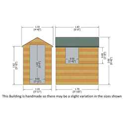 6ft x 4ft  (1.83m x 1.20m) - Dip Treated Overlap - Apex Garden Shed - 1 Window - Single Door - 10mm Solid OSB Floor