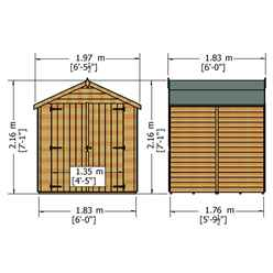 6ft x 6ft  (1.76m x 1.82m) - Dip Treated Overlap - Apex Garden Shed - Windowless - Double Doors - 10mm Solid OSB Floor