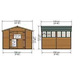 10ft x 10ft  (2.99m x 2.99m) - Dip Treated Overlap - Apex Wooden Garden Shed - 6 Windows - Double Doors - 10mm Solid OSB Floor - CORE (BS)