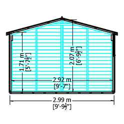 15ft x 10ft  (4.52m x 2.99m) - Dip Treated Overlap - Apex Wooden Garden Shed - 9 Windows - Double Doors - 10mm Solid OSB Floor - CORE (BS)
