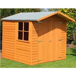 INSTALLED - 7ft x 7ft (1.98m x 2.04m) - Dip Treated Overlap - Apex Garden Shed - 1 Opening Window - Double Doors - 10mm Solid OSB Floor