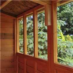 INSTALLED - 10ft x 6ft (2.99m x 1.79m) - Dip Treated Overlap - Apex Garden Shed - 6 Windows - Double Doors - 10mm Solid OSB Floor
