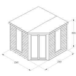 Arlington Premium Tongue & Groove 8ft x 8ft Corner Summerhouse (3.46m x 2.80m)