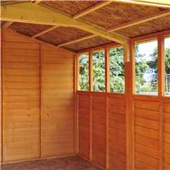 INSTALLED 12ft x 8ft (3.59m x 2.39m) - Dip Treated Overlap - Apex Garden Shed - 6 Windows - Double Doors - 10mm Solid OSB Floor