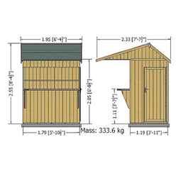 6ft x 4ft (1.79m x 1.19m) - Premier Garden Bar And Store  - 12mm Walls - Roof - Floor