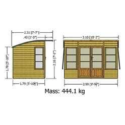 10ft x 6ft (2.99m x 1.79m) - Premier Pent Wooden Summerhouse - 4 Windows - Double Doors - 12mm T&G Walls & Floor