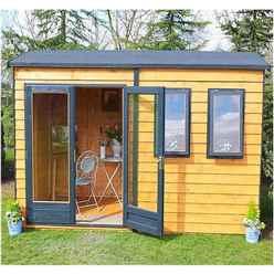 10ft x 7ft (3.02m x 2.23m) - Premier Reverse Wooden Studio Summerhouse - 2 Windows - Double Doors - 20mm T&G Walls