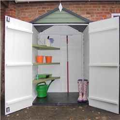 INSTALLED 4ft x 3ft (0.91m x 1.20m) - Overlap Shed - Double Doors - Windowless - Shelving - 10mm Solid OSB Floor INSTALLATION INCLUDED