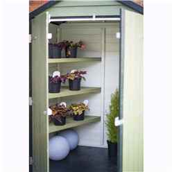 INSTALLED 4ft x 3ft (0.91m x 1.20m) - Overlap Shed - Double Doors - Windowless - Shelving - 10mm Solid OSB Floor