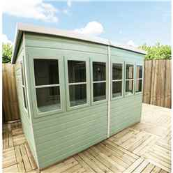 8ft x 6ft (1.83m x 2.39m) - Tongue And Groove - Pent Potting Shed - 2 Opening Windows - Single Door - 12mm Tongue And Groove Floor & Roof (Show Site)