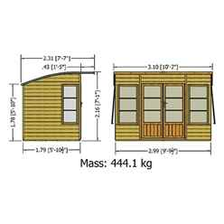 INSTALLED 10ft x 6ft (2.99m x 1.79m) - Premier Pent Wooden Summerhouse - 4 Windows - Double Doors - 12mm T&G Walls & Floor