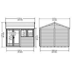INSTALLED 10ft x 10ft (3.02m x 3.15m) - Premier Reverse Wooden Studio Summerhouse - 2 Windows - Double Doors - 20mm T&G Walls INSTALLATION INCLUDED