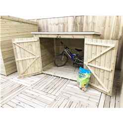 7FT x 3FT Pressure Treated Tongue & Groove Bike Store + Double Doors