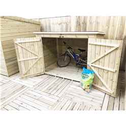 7FT x 4FT Pressure Treated Tongue & Groove Bike Store + Double Doors