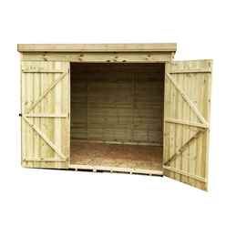 8FT x 8FT Windowless Pressure Treated Tongue & Groove Pent Shed + Double Doors