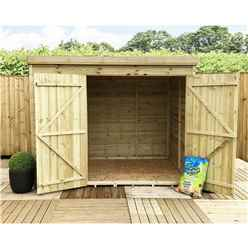 7FT x 3FT Windowless Pressure Treated Tongue & Groove Pent Shed + Double Doors
