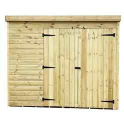 8FT x 3FT Windowless Pressure Treated Tongue & Groove Pent Shed + Double Doors