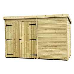 10FT x 7FT Windowless Pressure Treated Tongue & Groove Pent Shed + Double Doors