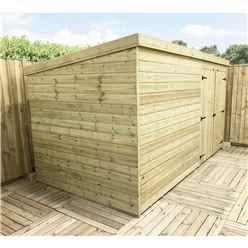 14FT x 6FT Windowless Pressure Treated Tongue & Groove Pent Shed + Double Doors