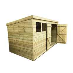 14FT x 3FT Pressure Treated Tongue & Groove Pent Shed + Double Doors + 3 Windows