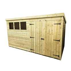 12FT x 5FT Pressure Treated Tongue & Groove Pent Shed + Double Doors + 3 Windows