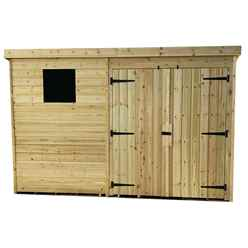 10FT x 4FT Pressure Treated Tongue & Groove Pent Shed + Double Doors + 1 Window + Safety Toughened Glass